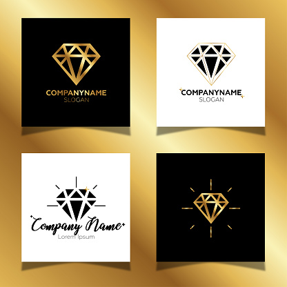 Set of glitter gold diamond logos. Black and white color square composition. Gold background.