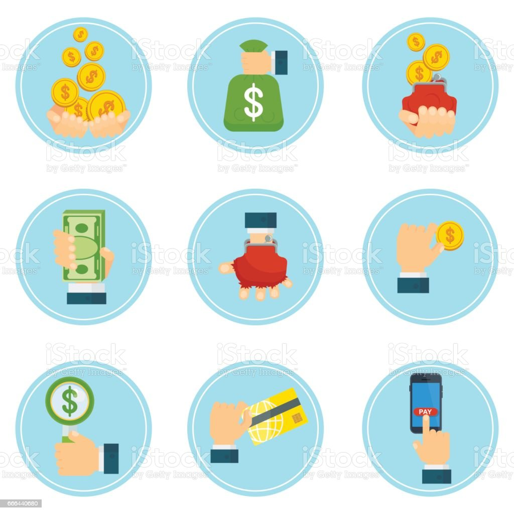 set of global payment icons vector art illustration
