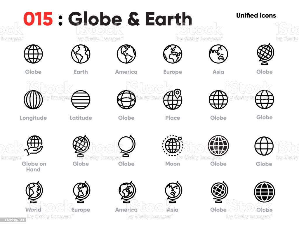 Set of Globe Line Unified Icons. Includes World, Earth, Planet, Europe, Asia, America and other. Editable Stroke. - Royalty-free Alfinete arte vetorial