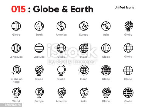 Set of Globe Line Unified Icons. Includes World, Earth, Planet, Europe, Asia, America and other. Pixel Perfect. Editable Stroke.
