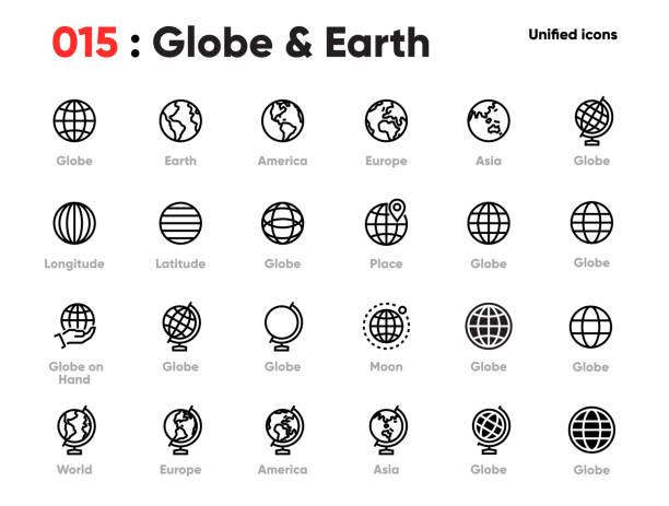 グローブラインの統一されたアイコンのセット。世界、地球、惑星、ヨーロッパ、アジア、アメリカなどが含まれています。編集可能なストローク。 - 地球点のイラスト素材/クリップアート素材/マンガ素材/アイコン素材