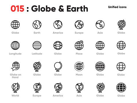 Set Of Globe Line Unified Icons Includes World Earth Planet Europe Asia America And Other Editable Stroke - Stockowe grafiki wektorowe i więcej obrazów Bez ludzi