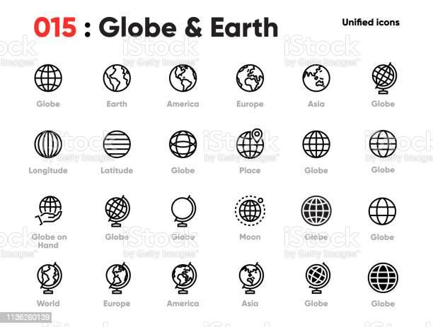 Set Of Globe Line Unified Icons Includes World Earth Planet Europe Asia America And Other Editable Stroke - Arte vetorial de stock e mais imagens de Alfinete