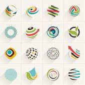 Set of globe web icons and vector logos