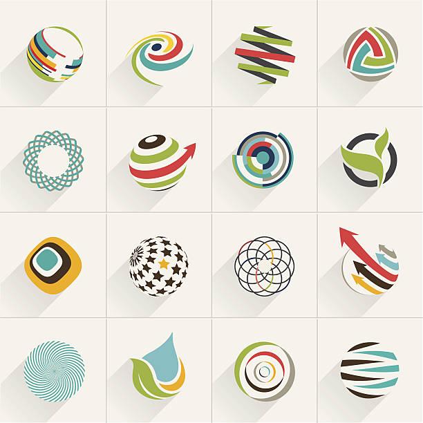 satz von globus-symbole und vektor-logos - umweltkonzept stock-grafiken, -clipart, -cartoons und -symbole