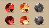 Illustration. A set of six different globes in two projections (America and Eurasia).