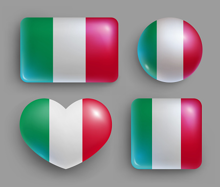 Set of glossy buttons with Italy country flag
