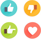 Thumbs up icons set. Flat style social network vector icon for app and web site