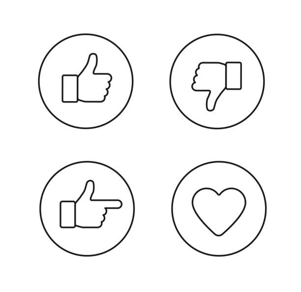 Set of glossy internet icons Thumbs up thin line icons set. Outline style circle vector icons isolated on white background like button stock illustrations