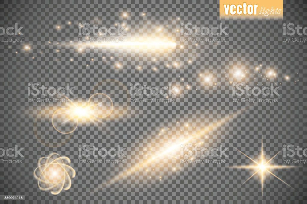 Set of glow light effect stars bursts with sparkles isolated on transparent background. For illustration template art design, banner for Christmas celebrate, magic flash energy ray vector art illustration