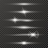 Set of glow light effect stars bursts with sparkles isolated