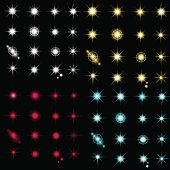 Set of glow light effect stars bursts with sparkles on transparent background.