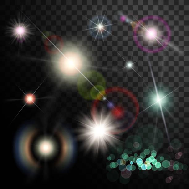 illustrazioni stock, clip art, cartoni animati e icone di tendenza di set of glowing light effect. star flash and spangles on transparent background. - flare