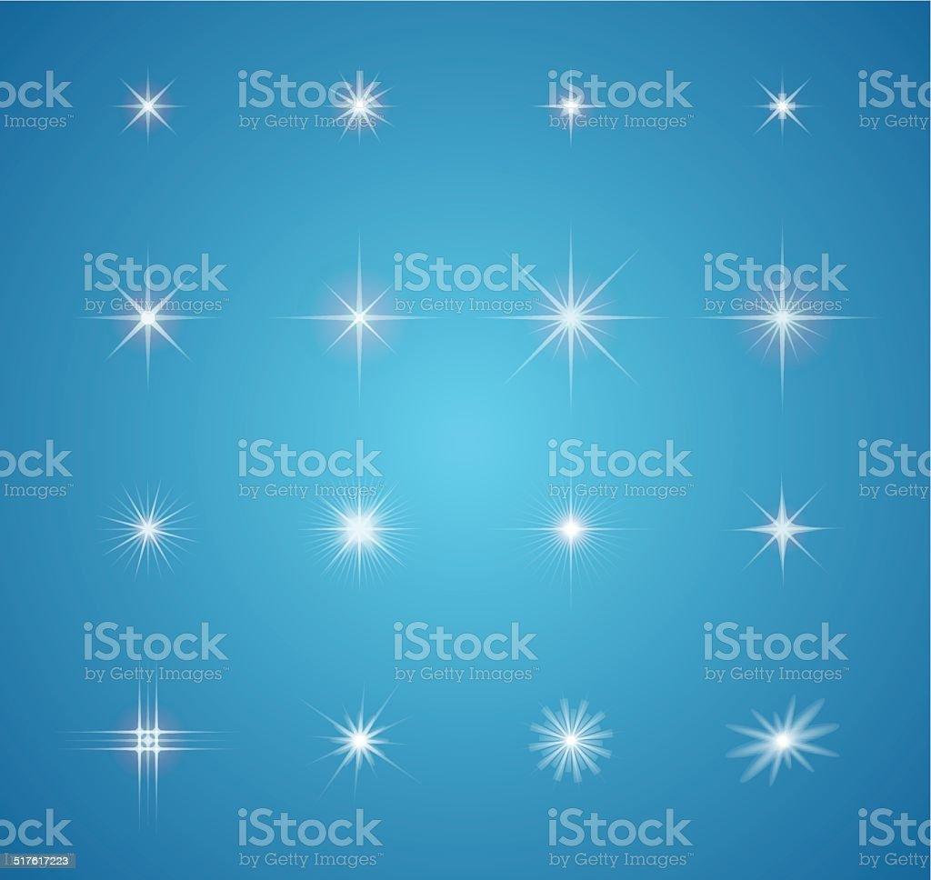Set of glowing light effect stars bursts vector art illustration