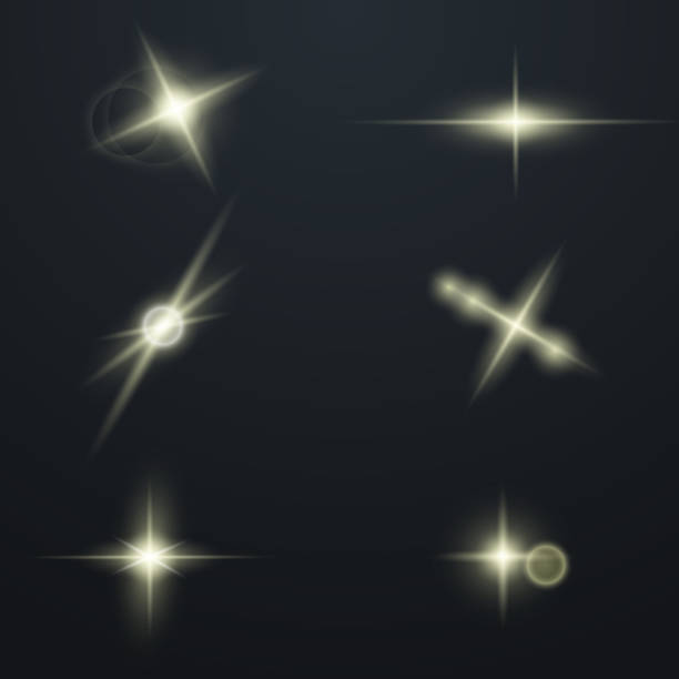 Set of Glowing Light Stars Set of Glowing Light Stars with Sparkles. Light effect. Vector Illustration. image technique stock illustrations