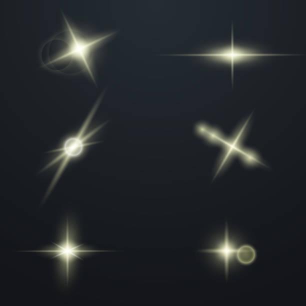 bildbanksillustrationer, clip art samt tecknat material och ikoner med uppsättning glödande ljus stjärnor - bildteknik