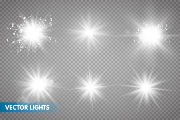 Set of Glowing Light Stars with Sparkles. Set of Glowing Light Stars with Sparkles. Light effect. Vector Illustration - high key stock illustrations