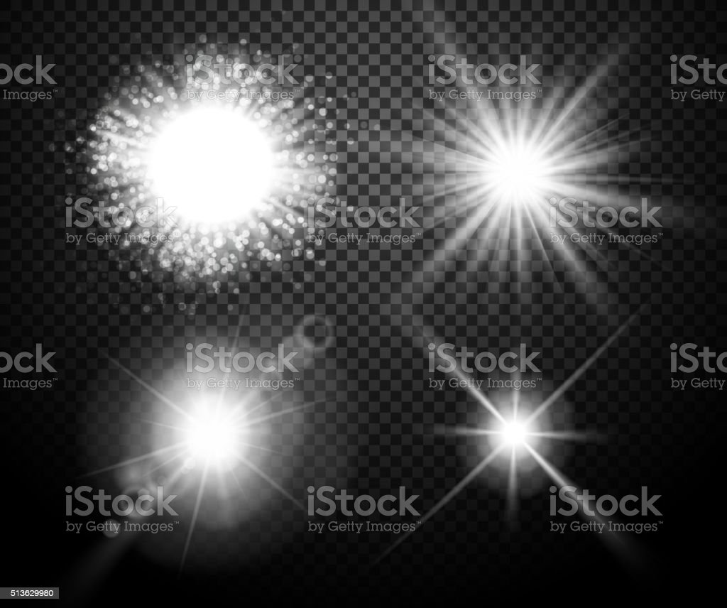 Set of glowing lights effects with transparency vector art illustration
