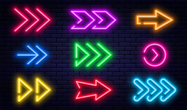 Set of glowing neon arrows. Glowing neon arrow pointers on brick wall background. Retro signboard with bright neon tubes in red, yellow, purple and blue colors vector art illustration