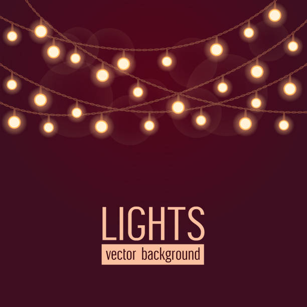 set of glowing string lights on dark red background. vector illustration - light strings stock illustrations, clip art, cartoons, & icons