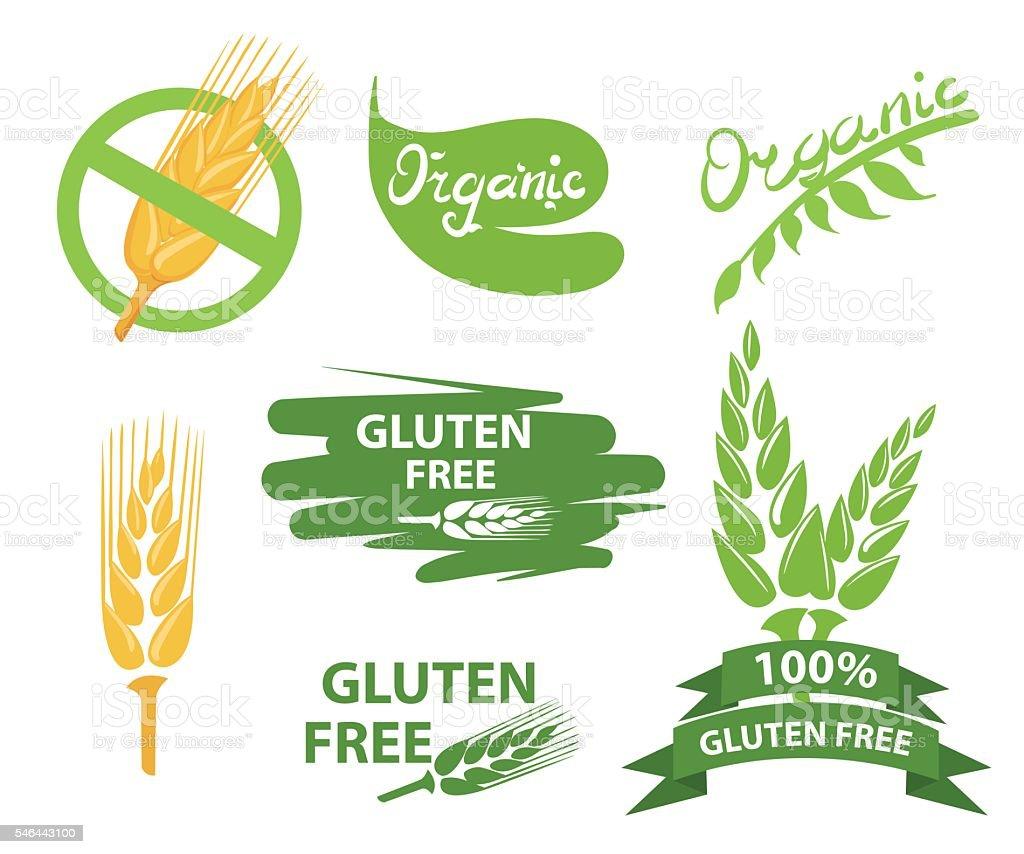 Set of gluten free badges design vector art illustration