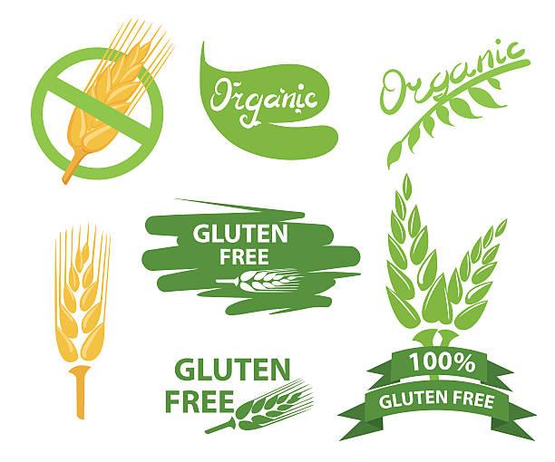 set of gluten free badges design - gluten stock-grafiken, -clipart, -cartoons und -symbole