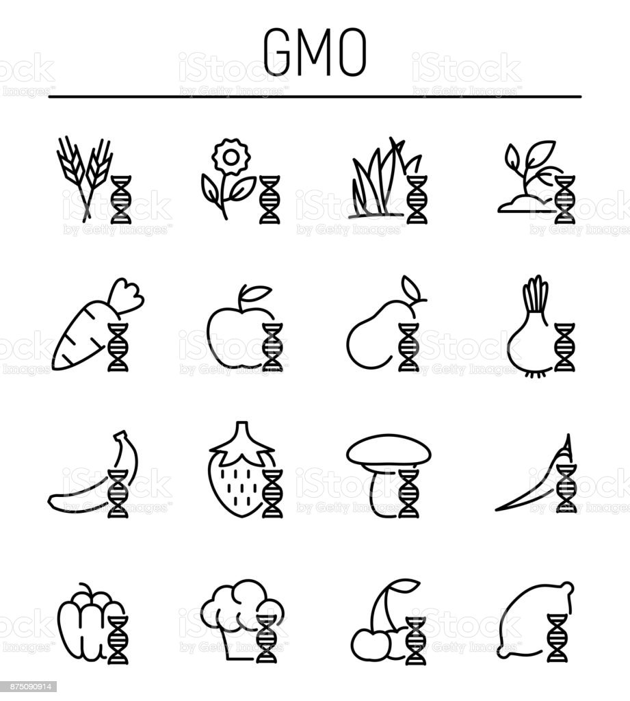 Set of GMO icons in modern thin line style. vector art illustration