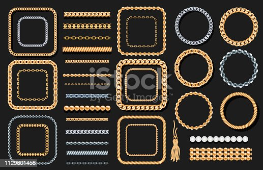 Set of gold and silver chains, ropes, beads on black. Jewelry luxury decorative elements. Seamless brushes for design. Vector