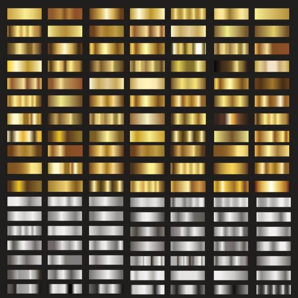 Set of gold and silver gradient textures. Vector. Set of gold and silver gradient textures. Vector. hill stock illustrations