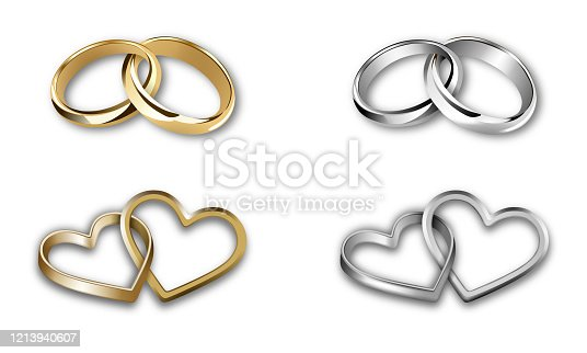 set of gold and silver wedding rings. heart-shaped and round-shaped rings vector