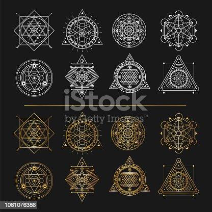 Set of gold and white sacred symbols on black background . Vector elements .