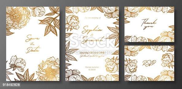 ᐈ Imagen De Plantilla Tarjeta Floral Del Oro Con Peonía