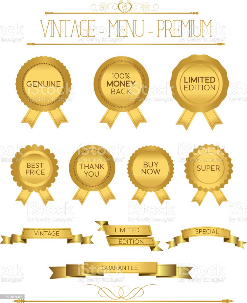 Set of gold badges and labels vector art illustration
