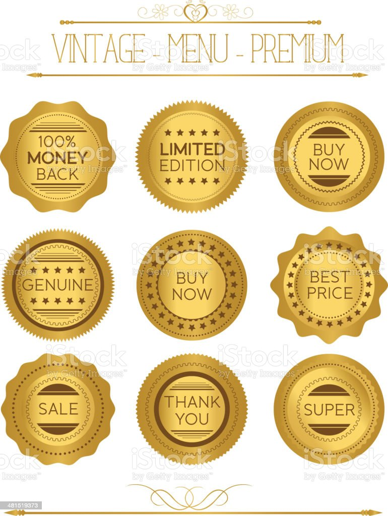 Set of gold badges and labels royalty-free stock vector art