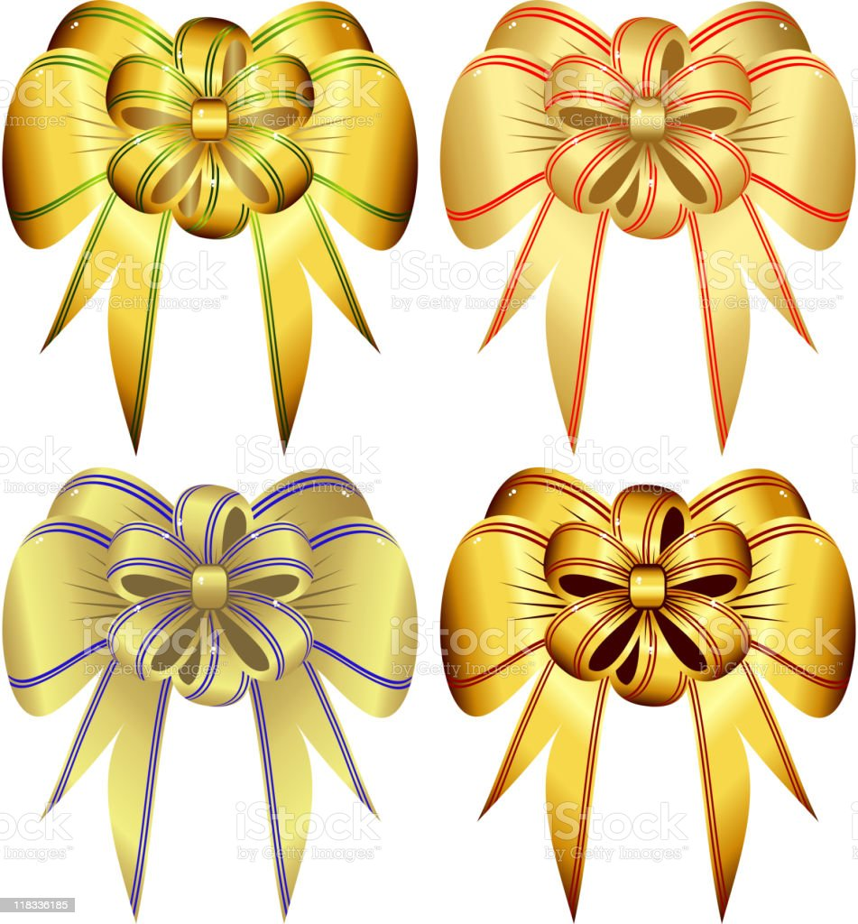 Set of gold bows royalty-free stock vector art