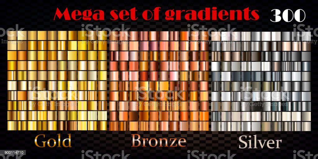 Set of gold, bronze and silver gradients. Huge vector collection vector art illustration