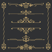 Set of gold calligraphical