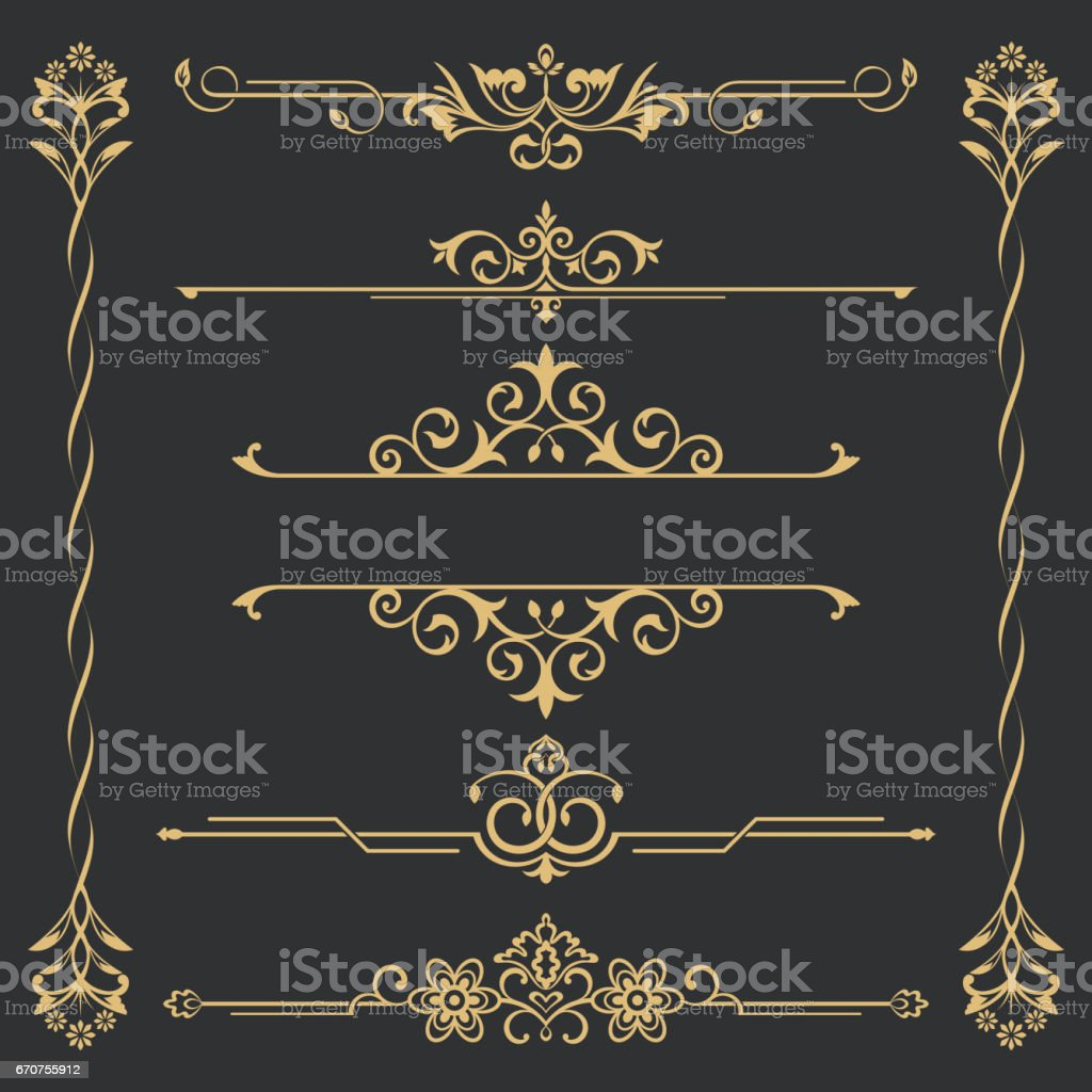 Set of gold calligraphical vector art illustration