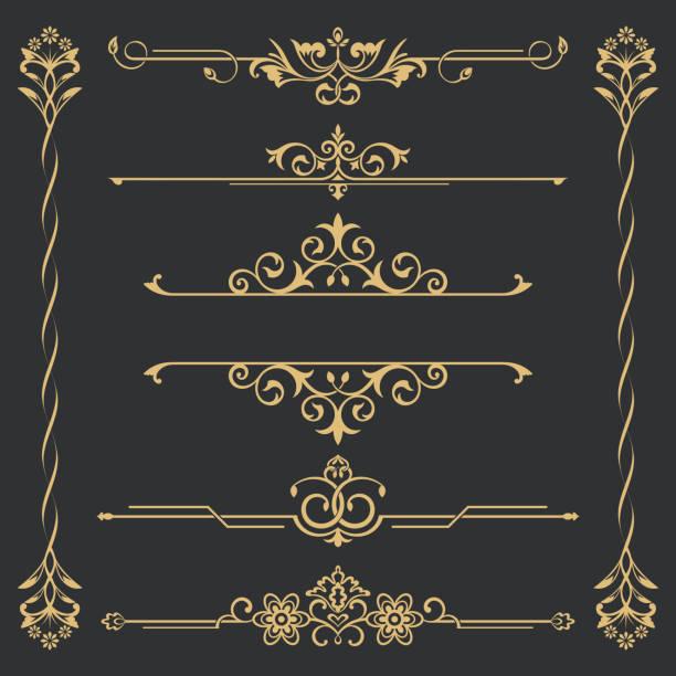 金 calligraphical のセット - ロココ調点のイラスト素材/クリップアート素材/マンガ素材/アイコン素材