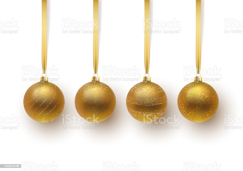 Royalty free christmas ornaments hanging gold isolated background