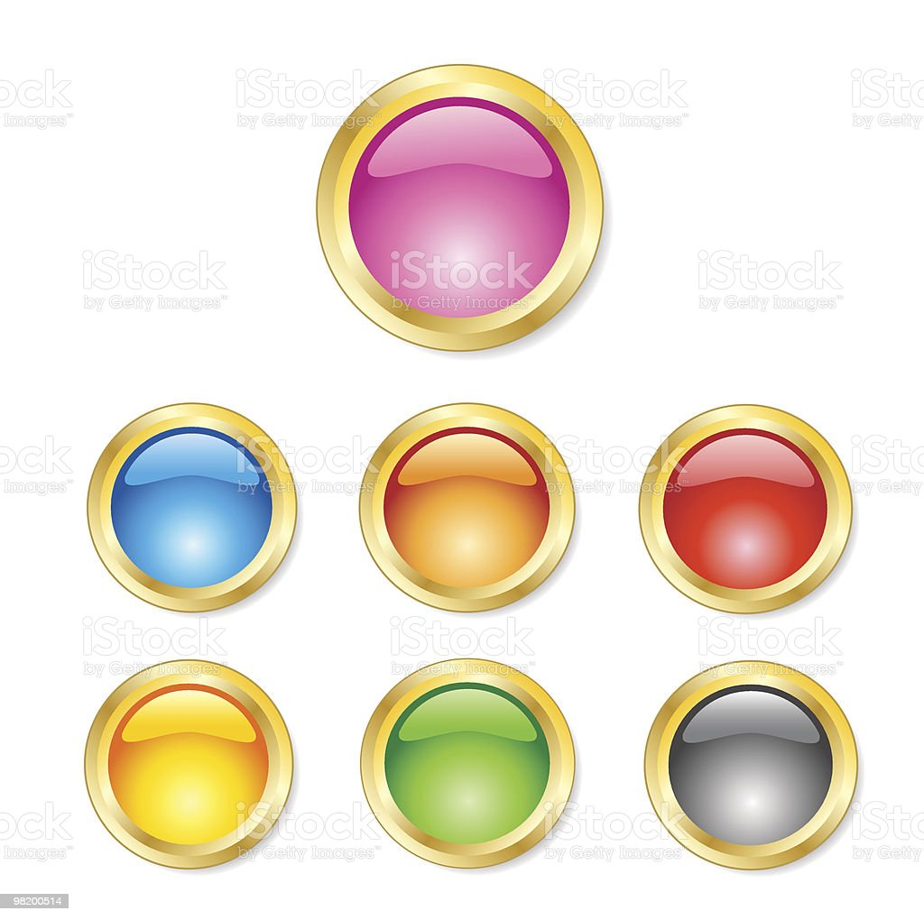 Set of gold colored buttons royalty-free set of gold colored buttons stock vector art & more images of backgrounds