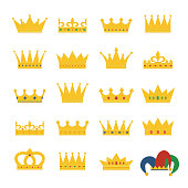 Set of gold crowns and jester's hat. Collection of crown awards for winners, champions, leadership. Vector isolated elements for symbol, label, game, hotel, an app design.