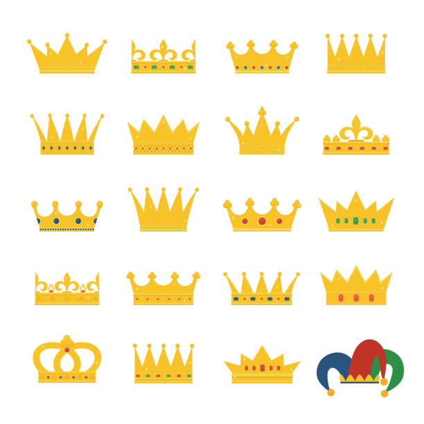 Set of gold crowns and jester's hat. Set of gold crowns and jester's hat. Collection of crown awards for winners, champions, leadership. Vector isolated elements for symbol, label, game, hotel, an app design. crown headwear stock illustrations