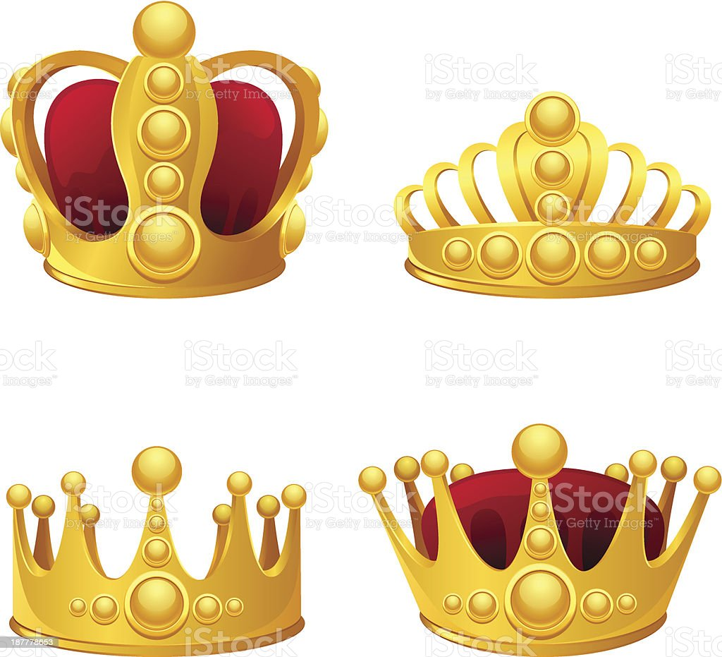 Set of gold crowns isolated. vector art illustration