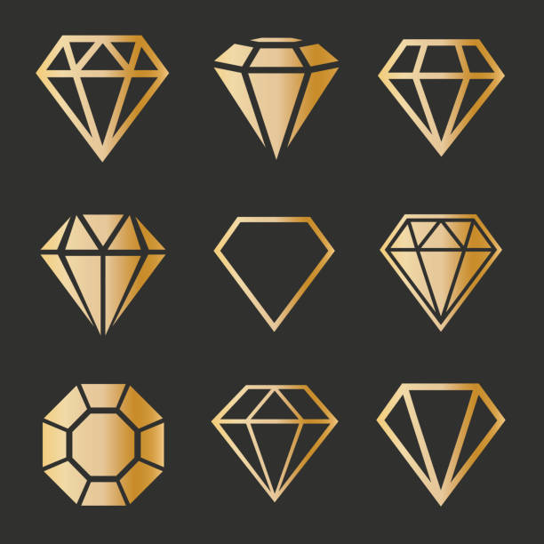 Set of gold diamonds in a flat style. Set of gold diamonds in a flat style. diamond shaped stock illustrations