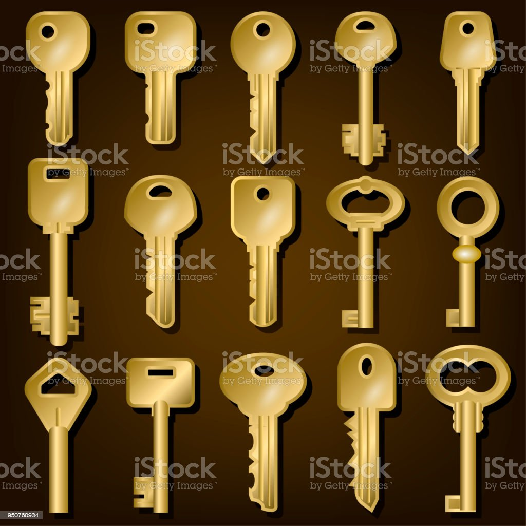 Set Of Gold Door Keys Of Different Shapes Stock Illustration Download Image Now Istock