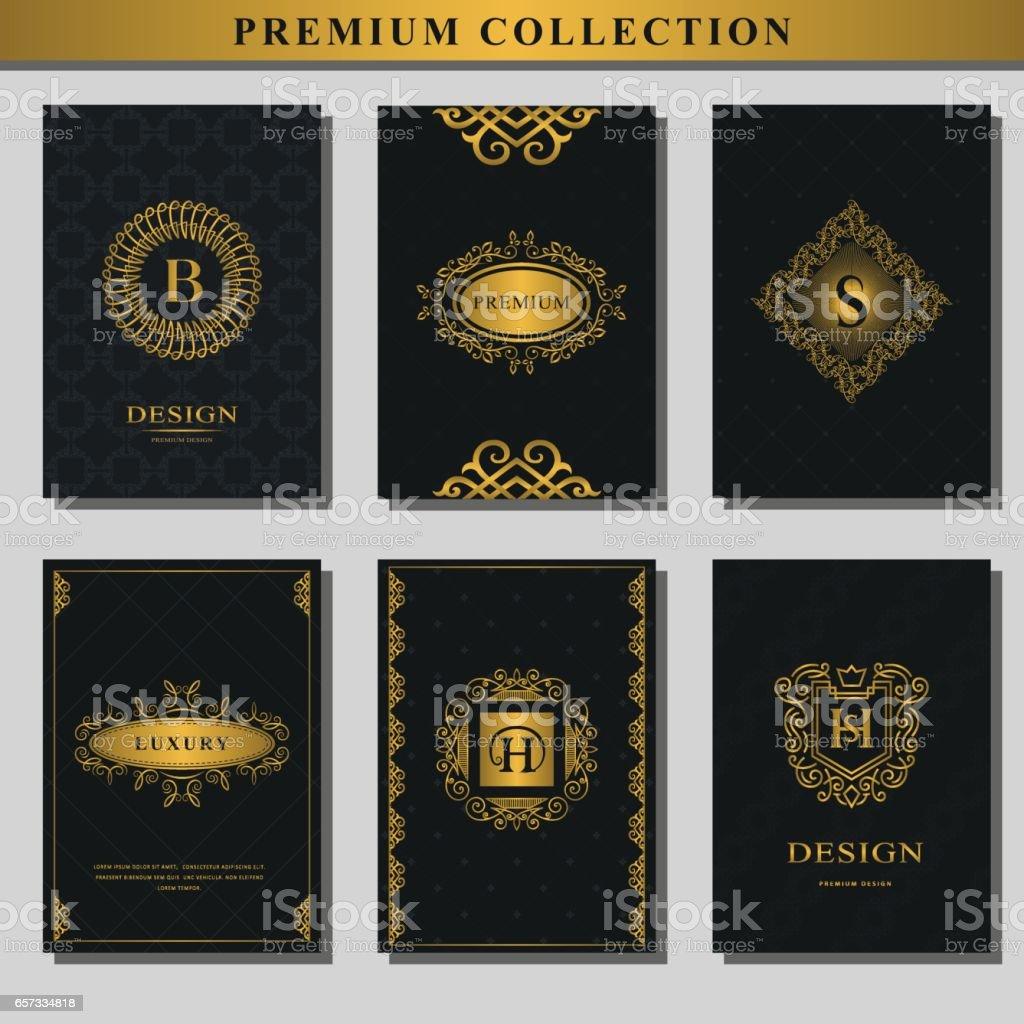 Conjunto De Emblemas Oro Colección De Elementos De Diseño Icono ...