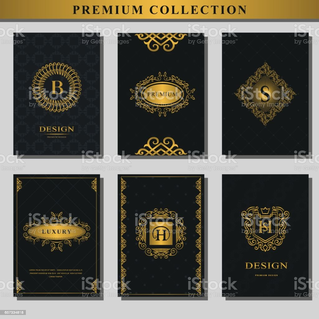 Set Of Gold Emblems Collection Of Design Elements Labels ...