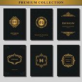 Set of gold emblems. Collection of design elements, labels, icon, frames, for packaging, design of luxury products. Letter H, B, SH. Logo design for business cards, brochures, booklets, flyers. Vector illustration
