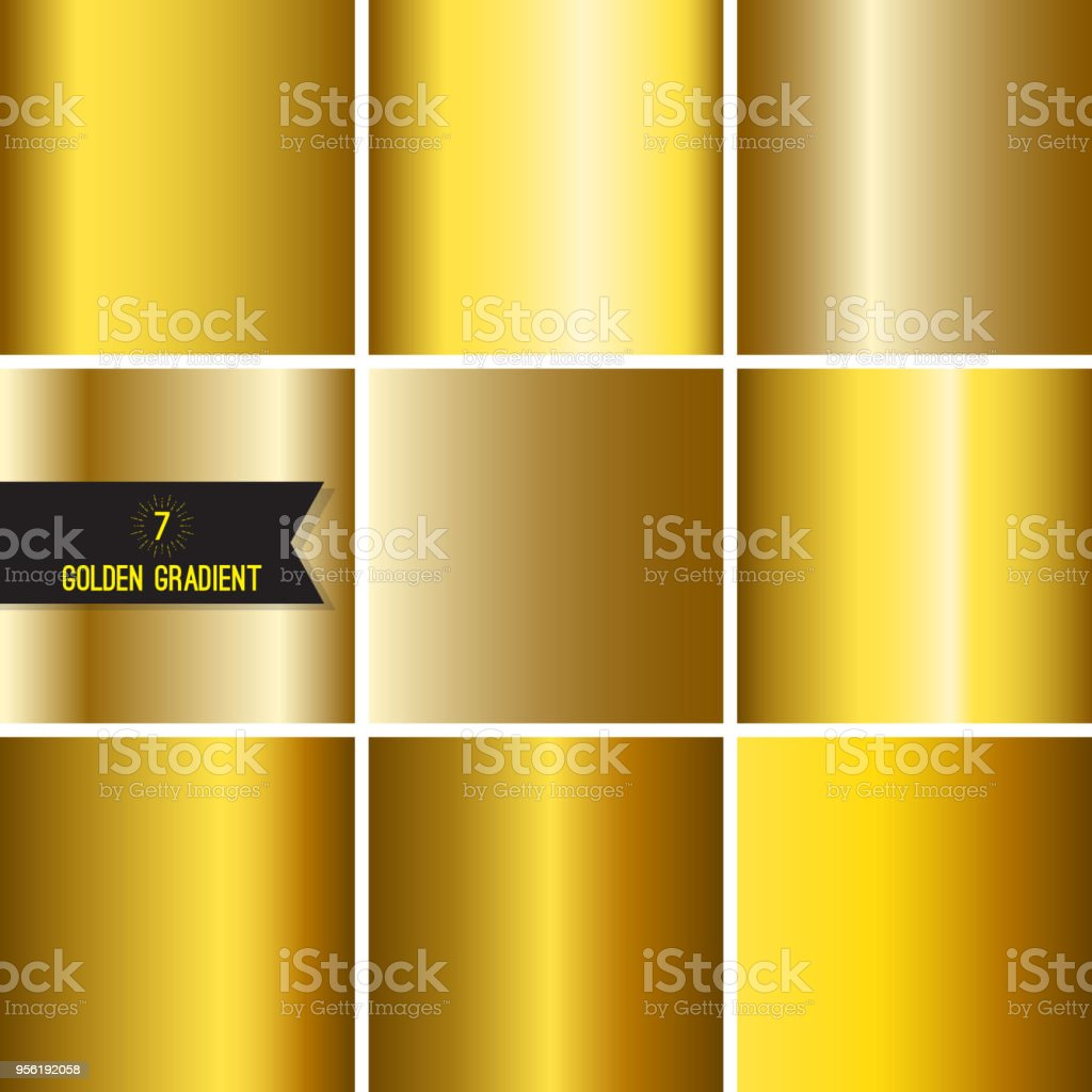 Set of gold foil texture background. Collection yellow vector elegant...